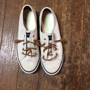 Cream Sperry Canvas Shoe - Women's 8